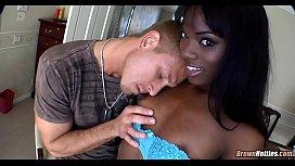 Skinny black girl slurps white dick