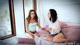 Teen stepsister lesbian with her inexperienced stepsis