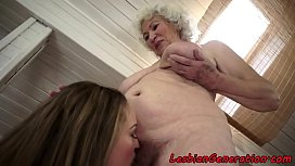 Grandmas hairypussy licked by amateur babe