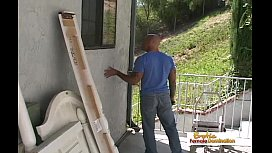 Bald plumber gets to fuck his busty client's tight asshole