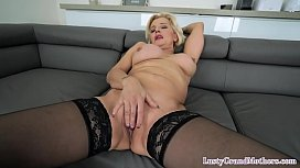 Busty glam granny gets pounded and facialized