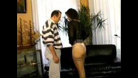 Hairy brunette analfucked in stockings