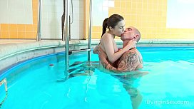 18 Virgin Sex - Lovers step out of pool for a fuck