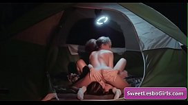 Naughty horny busty lesbo milfs Gianna Dior, Shyla Jennings enjoy deep pussy fingering while camping in a tent