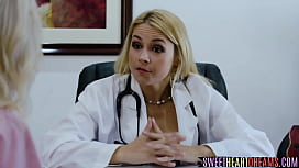 Sexy blonde nurse gets her pussy licked