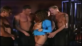 Five angry fellows uses their massive tools to poke filthy whore Gia Paloma in all her fucking holes in the dungeon