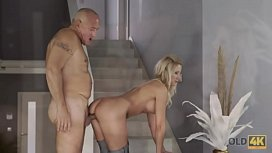 OLD4K. Old dad facializes blonde after stretching her sweet pussy