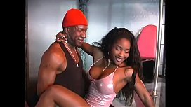Stripper slut Lori Alexia takes cumshot on face after sucking and riding huge black dick
