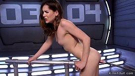 Small tits solo babe fucking machine