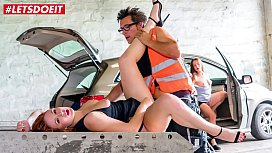 LETSDOEIT - Lovely Babe Eva Berger Thanks For Help To Lucky Truck Driver