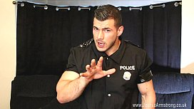 Ripped Muscle Boy Police Officer Wanking Hard