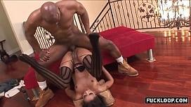Skinny black babe got ass fucked hard