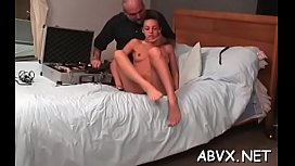 Rough scenes of home bondage with naked babe with shaved fur pie