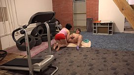Fitness with a break for orgasm, lesbian licks fatty girlfriend hairy pussy.