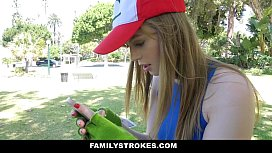 FamilyStrokes- Step-Sis (Dolly Leigh) Blows bro for Pokemon