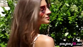 Glamorous skinny serbian sensual striptease outdoor
