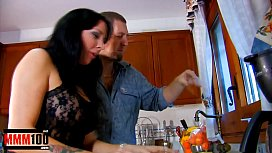 Messy &amp_ Brutal food sex in the Kitchen with spanish MILF Jordan Perry