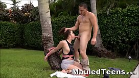 Teen Tied Outside &amp_ Throat Fucked Before Fucking