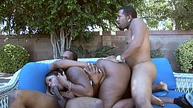 Ebony BBW Sky Black gets fucked by two BBCs