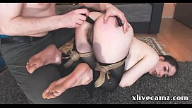 Slave webcam girl tied by her master and ass fucked with dildo