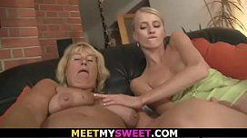 Blonde toying young cunt and riding old cock