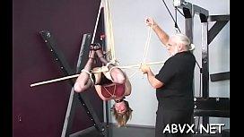 Harsh treatment on older pussy in hot bondage xxx