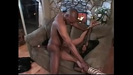 Busty black bitch gets drilled by 10 inch love canon and takes facial