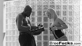Pretty blonde Bree has fun with a huge black cock