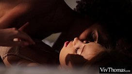 Ebony beauty follows her lover home and fucks her to orgasm