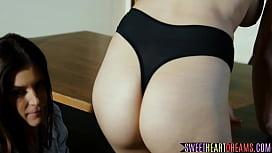 Sunkissed mature lesbian seduces schoolgirl