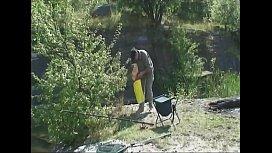 Horny bitch fucks a stranger at the fishing lake