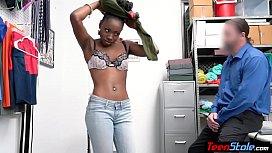 Ebony teen thief gives footjob and pussy for freedom
