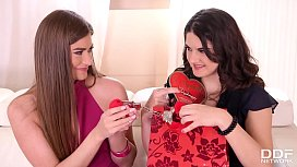 Lesbian sweethearts Francesca DiCaprio &amp_ Sarah Sultry share dildos at home