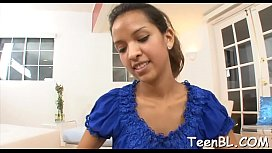 Nice-looking beauty fills her mouth with warm jizz after oral stimulation