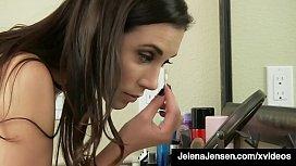 Busty Jelena Jensen Slides On Her Stockings &amp_ Finger Fucks!