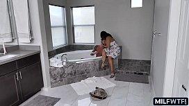 latina cougar helps him bathe