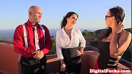 Bigtitted milf doggystyled after riding ontop