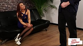 Glamorous british voyeur instructs sub to tug
