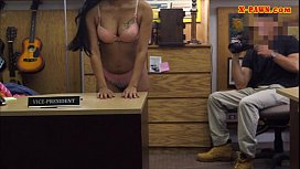 Beautiful girl sells her old coat and fucked at the pawnshop