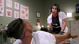 Asian domme doctor wanking patients cock
