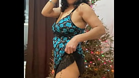Anna maria Mature Latina dancing and teasing by the Christmas tree