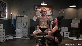 Tattooed thief anal fucked by mistress
