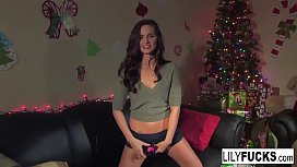 Lily Carter tells us her horny Christmas wishes before satisfying herself in both holes