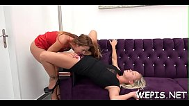 Agile girl is masturbating her moist cum-hole and pissing