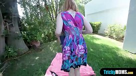 Busty redhead MILF stepmother fucked outdoor by stepson