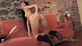 Nice lady Sasha Rose loves to be fucked hard in ass by sex machine
