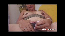 Chubby Hairy Honey Massages Clit