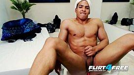Mike Mighty - Flirt4Free - Hunky Latino w Big Cock Enjoys Ass Play