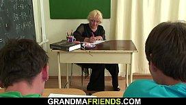 Very old blonde teacher double fuck