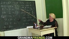 Very old blonde teacher double fuck